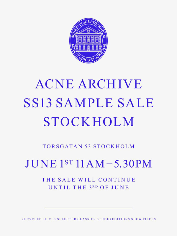Acne Sample Sale June 2013