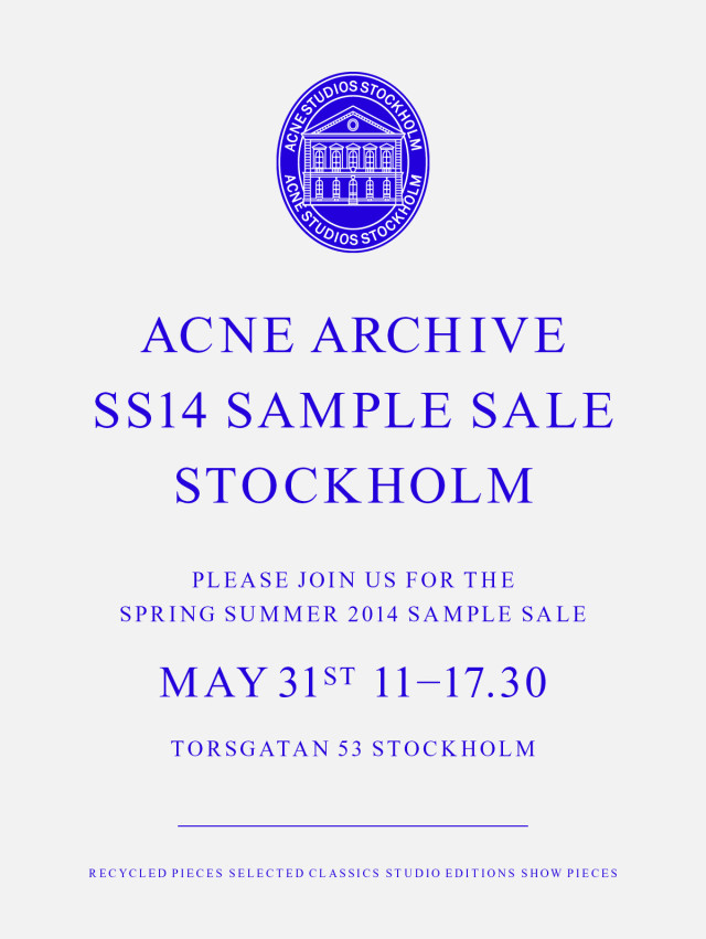 Acne SS14 Sample Sale