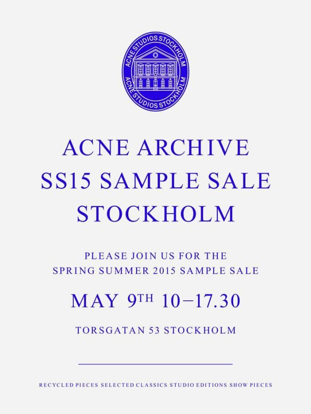 Acne SS 2015 Sample Sale