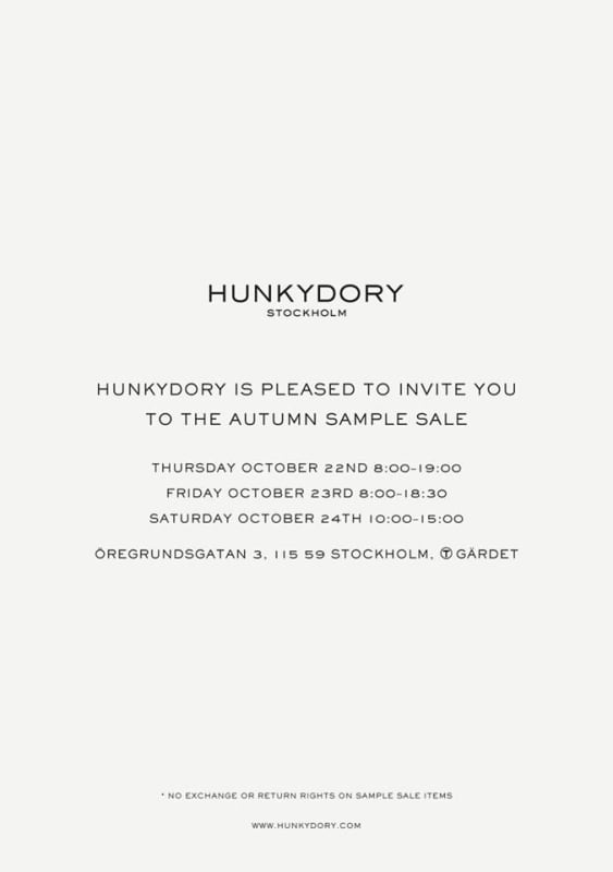 Hunkydory sample sale